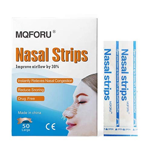 MQFORU 100ct Large Better Breathe Nasal Strips to Reduce Snoring, Drug-Free, Works Instantly to Improve Sleep, Relieve Nasal Congestion Due to Colds & Allergies, (66mm*19mm)