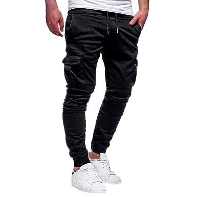 Alaso - Pantalones de chándal con cinturón, elásticos, para Hombre ...