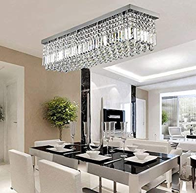 "Rectangular Raindrop Crystal Chandelier Lighting Modern Ceiling Lights Flush Mount Fixture L31.5"" X W10"" X H10"""