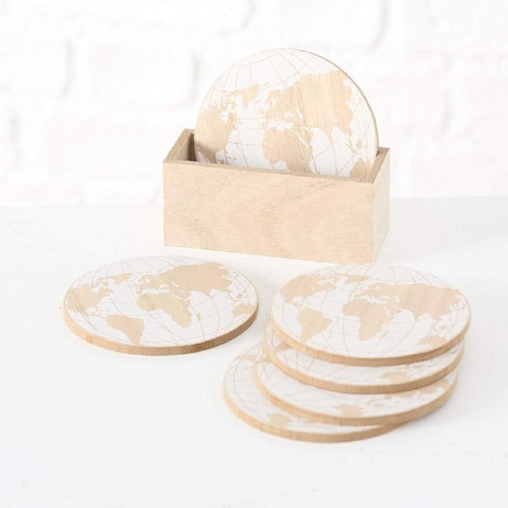 Home Collection - Posavasos de Madera y Cristal, 6 Unidades, con Soporte, diseño de mapamundi, 10 cm de diámetro, Color Beige y Blanco