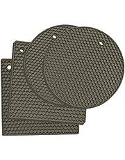 Premium Silicone Trivet Mats: 4 Multi-Purpose Pot Holder, Oven Mitts & Hot Pads– Versatile, Heat Resistant, Non-Slip Jar Opener, Gripper Pad, Garlic Peeler, Drying Mat, Coaster - Heavy-Duty (Gray)