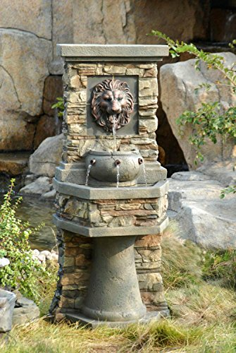 "Grand Lion Fountain (51"" Grand Two-Tiered Cascading Lion's Head Outdoor Patio Garden Water Fountain)"