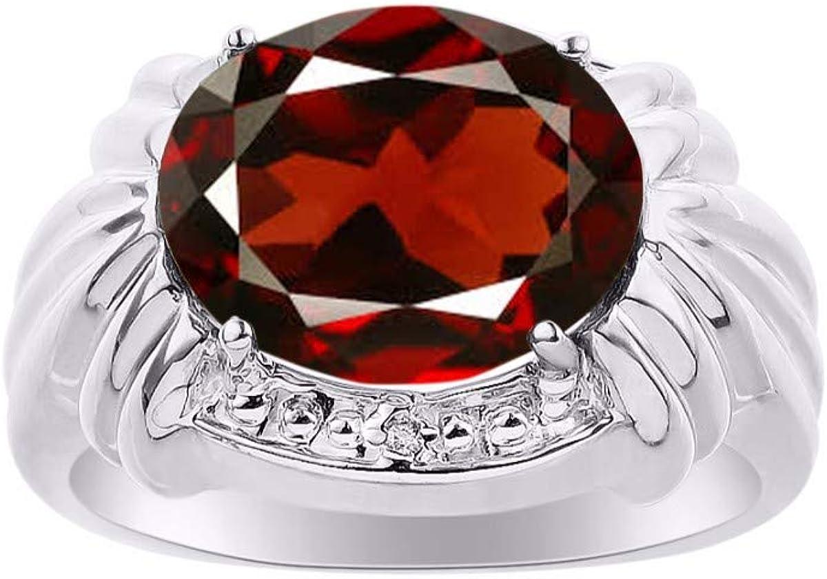 RYLOS - Anillo de granate y diamantes de imitación, diseño elegante