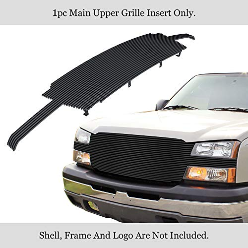 APS Compatible with 02-06 Chevy Avalanche 03-04 Silverado 1500 2500 3500 Black Billet Grille N19-J62058C