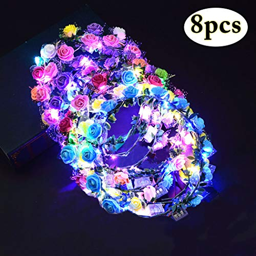 LED Flower Crown, Coxeer Led Flower Wreath Headband Luminous 10 Led Flower Headpiece Flower Headdress for Girls Women Wedding Festival Holiday Christmas Halloween Party (8PCS)