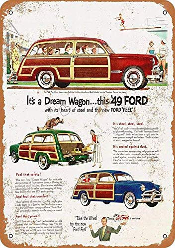 FDerks Ford Woody Station Wagons Iron Poster Retro Vintage Custom Metal Tin Sign Home House Coffee Beer Drink Bar 8 x 12 - Tin Woody Sign