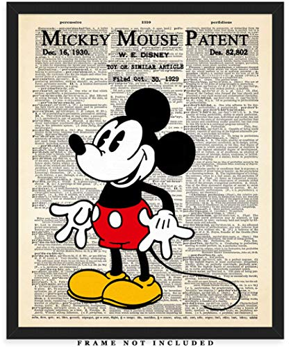 Mickey Mouse Patent Dictionary Wall Art Print: Unique Room Decor for Boys, Men, Girls & Women - (8x10) Unframed Picture - Great Gift Idea for Mickey Mouse Fans! -