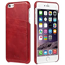 iPhone 6s Plus & iPhone 6 Plus Case, Benuo [Card Slot Vintage Series] Handmade 100% Genuine Leather Back Cover with 3 Card Slots (Red)