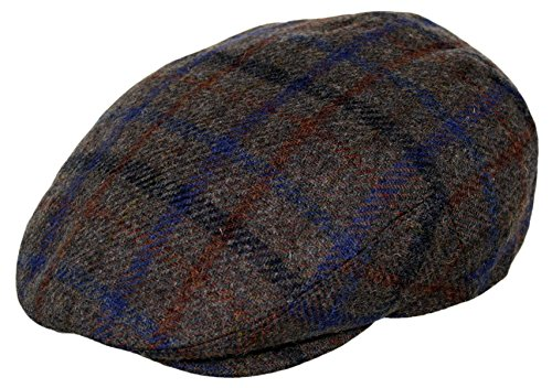 Men's Premium Wool Blend Classic Flat Ivy Newsboy Collection Hat ,Big Plaid Brown, (Plaid Vintage Hat)