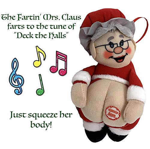Farting Mrs Clause Christmas Ornament-Funny Christmas Tree Decoration-Stocking Stuffer-Naughty But Nice Gag Gift-She Farts The Song Deck The Halls When You Press Her Body-Measures 4x7 Inches-Very Cute (Tree Christmas Nice Decorations)