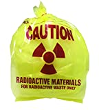 Radioactive Waste Disposal Bags, 3 Mil Thick, 8 x 6 x 15 Inches, Yellow Tint, Pre-Printed with Caution Message, 100 per Package