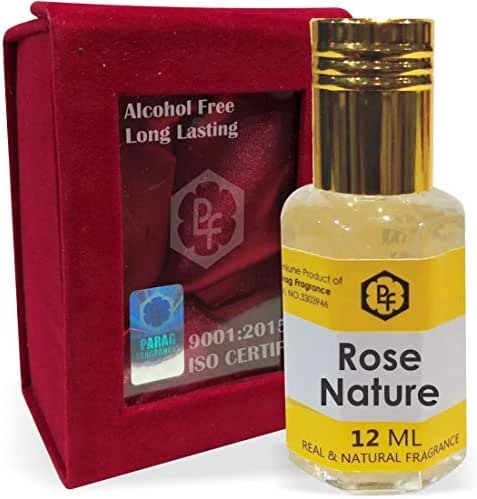 SHINE MILL Parag Fragrances Rose Nature 12ml Attar/Perfume Oil/Fragrance Oil (Made in India by Traditional Indian Bhapka Process Method) with Handcrafted Velvet Box|Attar itra Long Lasting