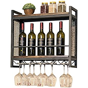 Amazoncom Wine Rack Wine Glass Holder Wall Mounted Made Wood Metal