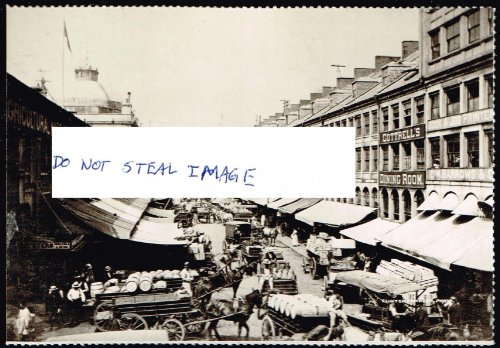- North Market With The Solid Quincy Market On The Left 1880 Boston Postcard