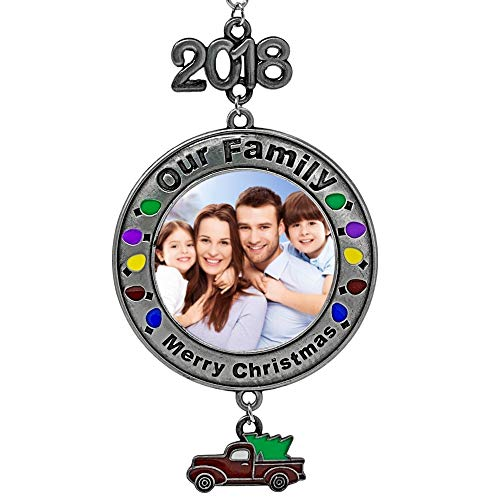 - BANBERRY DESIGNS Dated 2018 Christmas Picture Ornament - Our Family Merry Christmas - Red Vintage Pick Up Truck Charm with Holiday Tree