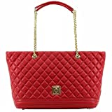 Love Moschino Women's Red Quilted Nappa Leather Tote Handbag