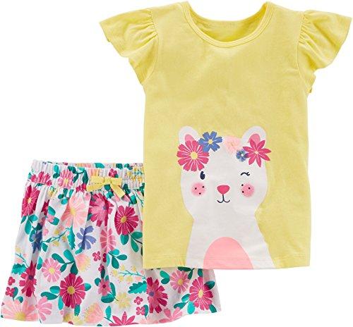 Girls Skort Set - Carter's Girls' 2-Piece Kitty Top & Floral Skort Set (12m)