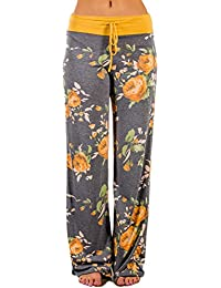 Women's Comfy Stretch Floral Print Drawstring Palazzo Wide Leg Lounge Pants