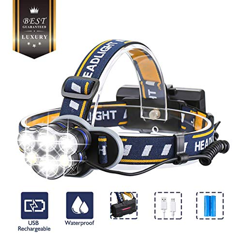 OUTERDO Super Bright Headlamp- 12000 Lumens 8 Lighting Modes with USB Cable 2Batteries, Rechargeable Head Torch Waterproof 90° Rotating, LED Headlamp Flashlight for Camping, Fishing, Cellar, Outdoors