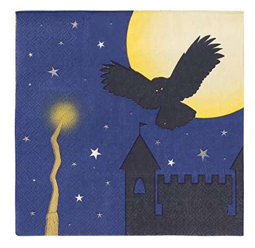 Blue Panda Cocktail Napkins - 150-Pack Luncheon Napkins, Disposable Paper Napkins Halloween Party Supplies Wizard Themed Kids Birthdays, 3-Ply, Unfolded 13 x 13 inches, Folded 6.5 x 6.5 -