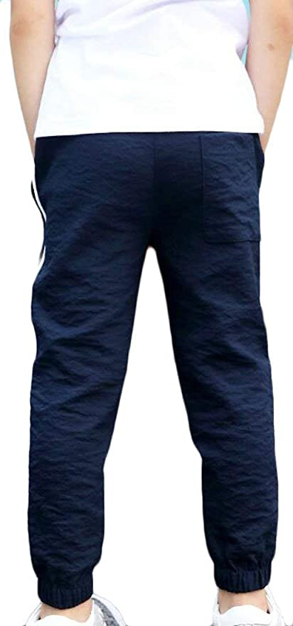9a55b65f0d6a Amazon.com  JWK Boy s Jogger Pants Cozy Summer Ankle Length Casual Elastic  Wasit Pants  Clothing