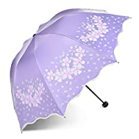 Anti-UV Sun Umbrella Sunshade UV Protection Parasol Triple Folding Windproof Compact Travel Rain Umbrellas for Women Girls Portable Cute Princess Flowers Purple