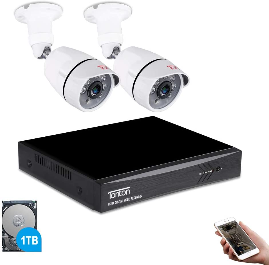 Tonton 4CH Full HD 1080P Expandable Security Camera System, 5-in-1 Surveillance DVR with 1TB Hard Drive and 2 2.0MP Waterproof Outdoor Indoor Bullet Camera, Free APP Remote Viewing and Email Alert