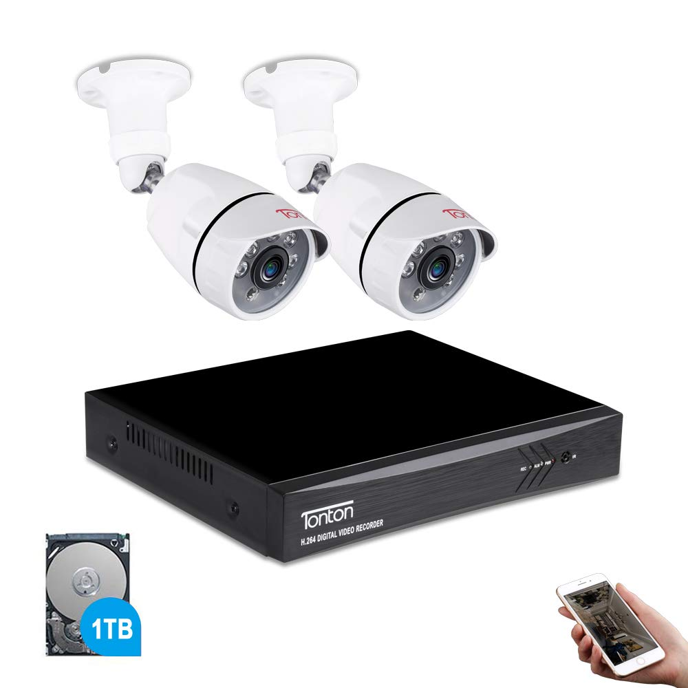 Tonton 4CH Full HD 1080P Expandable Security Camera System, 5-in-1 Surveillance DVR with 1TB Hard Drive and (2) 2.0MP Waterproof Outdoor Indoor Bullet Camera, Free APP Remote Viewing and Email Alert by Tonton