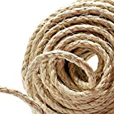 Naler 82FT Hemp Rope 6mm, 100% Natural Jute 4-ply Thick Twine String Cord Rope Boating, Animal Scratch Pole, DIY & Arts Crafts, Gift Packing, Gardening Floristry