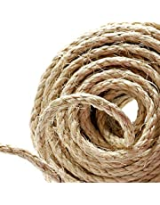 Naler 82FT Hemp Rope 6mm, 100% Natural Jute Rope 4-ply Thick Twine String Cord Rope for Cat Tree, Boating, Animal Scratch Pole, DIY & Arts Crafts, Gift Packing, Gardening and Floristry