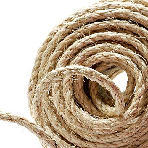 Cuerda de canamo Naler de 25 m 6 mm, 100% yute natural, 4 capas de cuerda gruesa para barcos, barras de aranar de animales, manualidades, embalaje de regalo, jardineria y floristeria