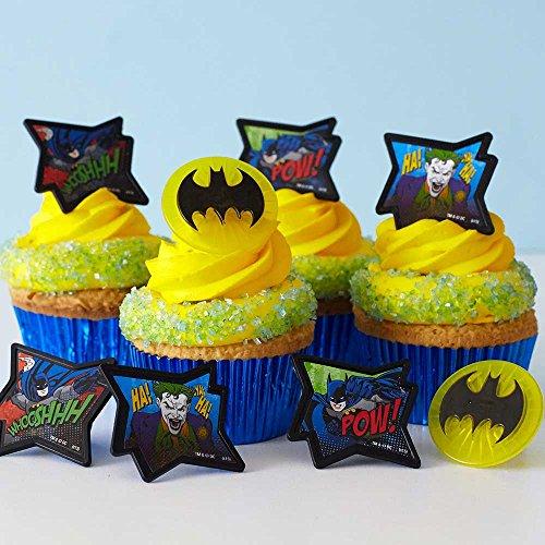 (24) Batman Cupcake Rings Kit - Batman Symbol Image Joker Toppers (30) Blue Foil Cupcake Liners (4oz) Blue Sugar ()