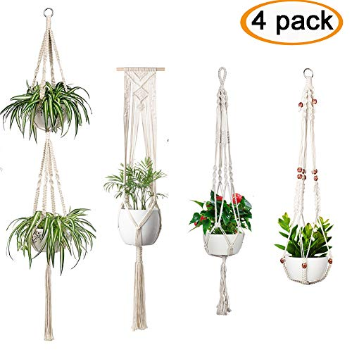 (Accmor 4 Pcs Macrame Plant Hanger Indoor Outdoor Wall Hanging Plant Holder Hanging Stand Flower Pots Planter for Decorations - Boho Home)