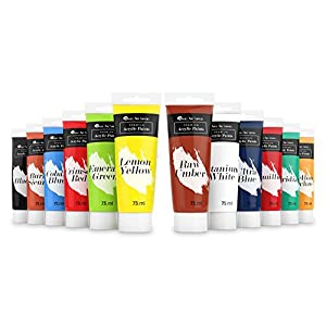 Castle Art Supplies LARGE Acrylic Paint Set - 12 BIG 75ml Tubes for Beginners, Artists or Students - For Canvas, Wood, Ceramic, Fabric and Nail Art (12 75ml tubes)