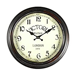 Adeco CK0022 14~15 Black & Brown Antique-Look Dial Decorative Vintage Retro Traditional Wall Hanging Victoria Station Circle Iron Clock, Arabic Arab, Brown