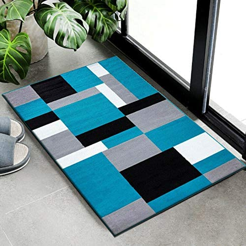 B B Door Mat Indoor Washable Heavy Duty Floor Protector Mat Inside Large Dirt Trapper Mats Entryway Patio Door Matt Kilas Teal Black 60 Cm X 110 Cm Amazon Co Uk Kitchen Home