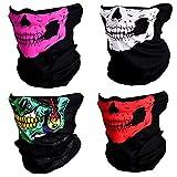CIKIShield Seamless Skull Face Mask Bandana Motorcycle Face Masks Skeleton Face Shield (4pcs-color-setA)