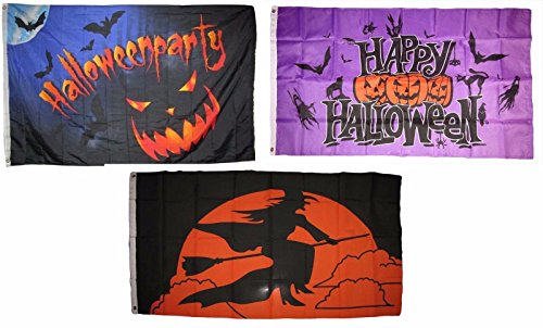 ALBATROS 3 ft x 5 ft Happy Halloween 3 Pack Flag Set #58 Combo Banner Grommets for Home and Parades, Official Party, All Weather Indoors Outdoors