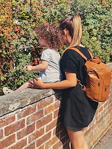Sacs /à Langer b/éb/é par Miss Fong Sacs /à dos cuir avec tampon de changement et poche isol/ée Pour maman et papa brun