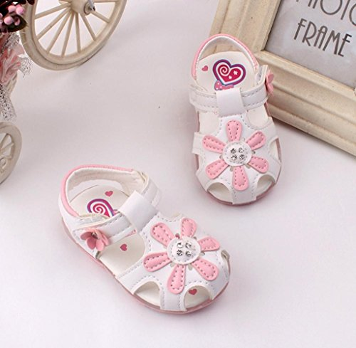 Zapatos de bebé,Tongshi Sandalias de niñas girasol nuevo niño iluminado zapatos de princesa con suela suave Blanco