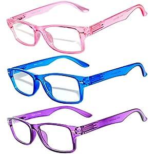 Retro Narrow Rectangular Clear Lens Eyeglasses with attitude 3 Pairs