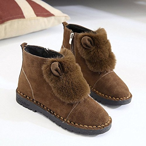 Boots Brown Mid Comfort Black ZHZNVX Brown PU Round Snow Toe Fur Winter Boots Shoes Calf Boots Women's Casual for Heel HSXZ Lining Flat wZZq0TR