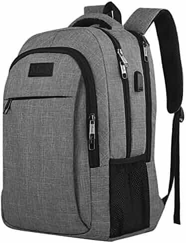 Travel Laptop Backpack,Business Anti Theft Slim Durable Laptops Backpack USB Charging Port,Water Resistant College School Computer Bag Women & Men Fits 15.6 inch Laptop Notebook - Grey