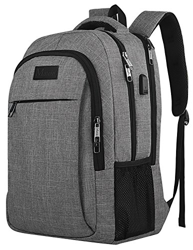 Waterproof Computer (Travel laptop backpack,Business Anti Theft Slim Durable Laptops Backpack with USB charging Port,Water Resistant College School Computer Bag for Women & Men Fits 15.6 Inch Laptop and Notebook - Grey)