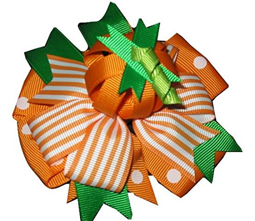 """NEW """"PUMPKIN PATCH"""" Halloween Alligator Clips Girls Ribbon Hair Bows Fall Festival Ribbon Holiday Over the Top"""