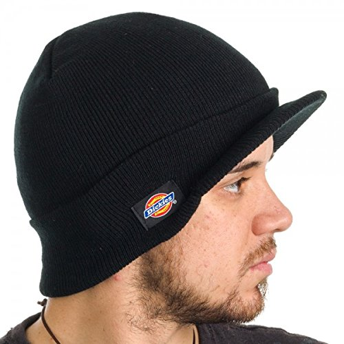 Dickies Men's Core 874 Billed Knit Radar with Cuff Beanie (Black) (Black Army Cap Knit)