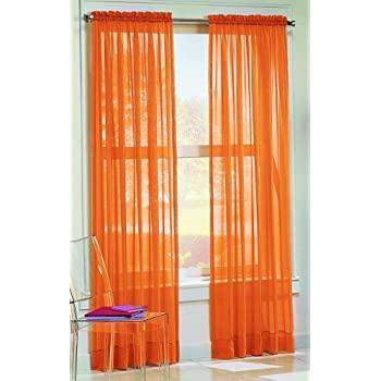DreamKingdom - 2 PCS Solid Sheer Window Curtains/Drape/Panels/Treatment Brand New 58