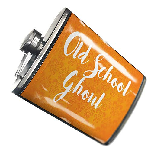 NEONBLOND Flask Old School Ghoul Halloween Orange Wallpaper Hip Flask PU Leather Stainless Steel Wrapped ()