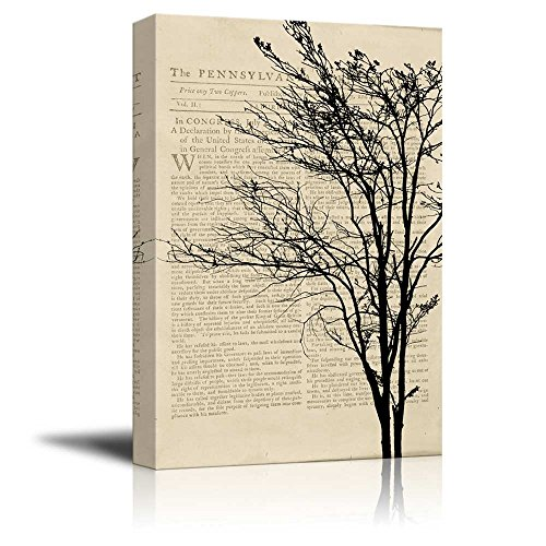 Wll Art Silhouette of a Tree on Vintage Newspaper Background and Stretched