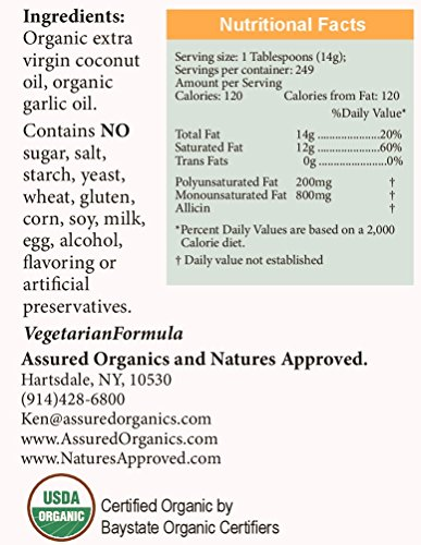 Organic Garlic Coconut Oil (16 oz Garlic) by Nature's Approved (Image #1)
